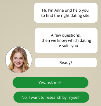 Excellent.org: questions from a dating assistant, who asks you if you want to make a test which shows, what dating site suits you the best.