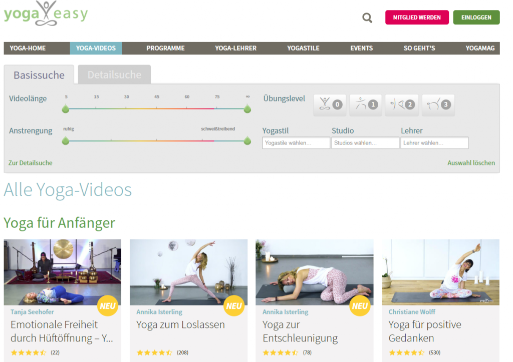 Excellent.org: Website of Yogaeasy with the online courses