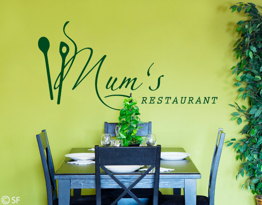 """Excellent.Org: Wall tattoo with """"Mums Restaurant"""" on it"""