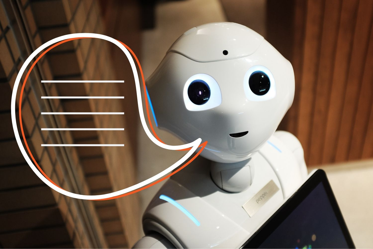 Excellent.org explains how chatbots work and how they can be used, the picture shows a robot with a speech bubble