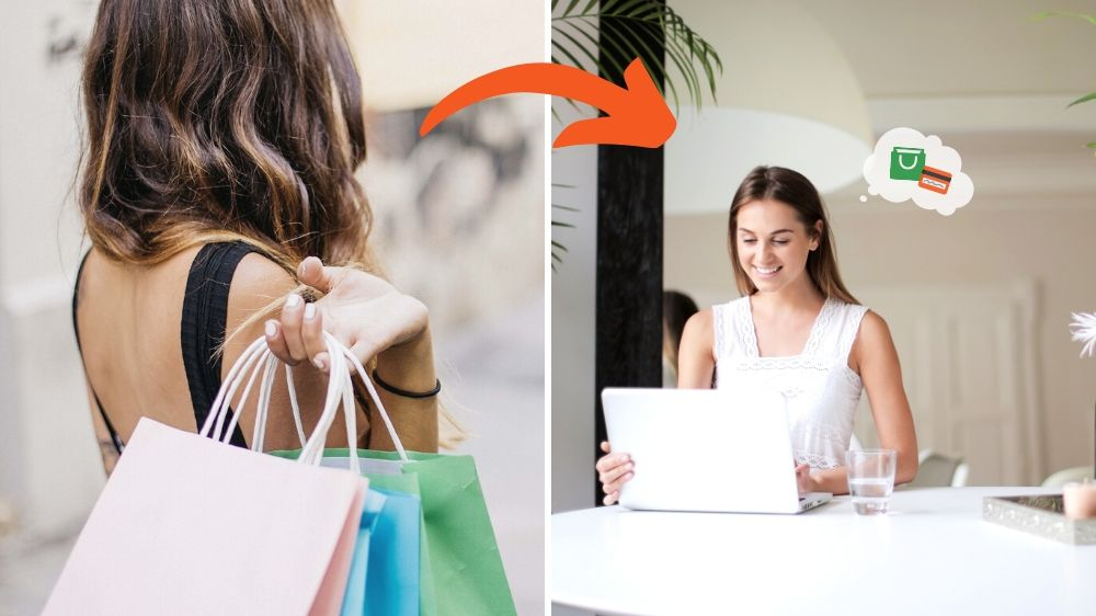 Excellent.org explains the changed buying behaviour of consumers and explains the trends. The picture shows a woman with shopping bags on the left and a woman shopping online on the right