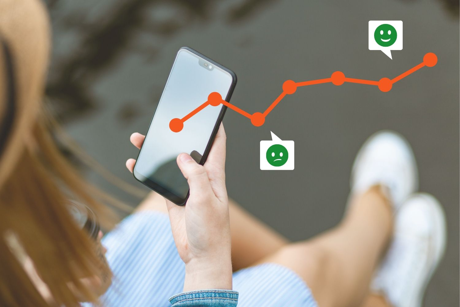 Excellent.org focuses on the customer experience and what helps your customers have a positive experience. The picture shows a woman on a smartphone and a graph that illustrates your customer experience