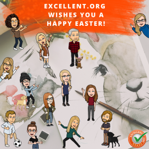 """Bimojis with text """"Excellent.org wishes happy easter"""""""