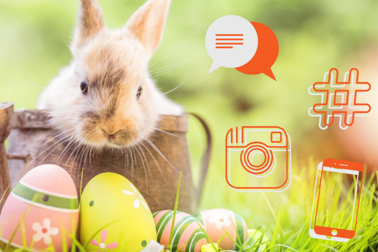 An Easter bunny next to social media icons | EXCELLENT.ORG